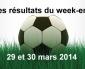 Les résultats du week-end : 29 & 30 mars