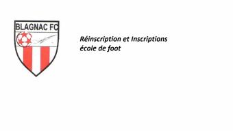 Inscriptions et réinscriptions école de foot U6 à U13